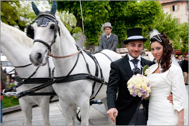 White Wedding horse and carriage in Italy