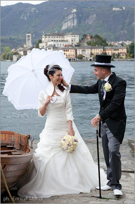 vintage wedding on lake Orta Italy