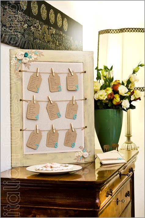 wedding table chart shabby chic style in Villa Pestalozza Italy