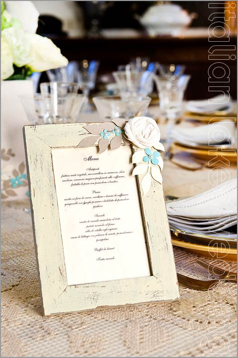 wedding menu cards shabby chic style in Italy