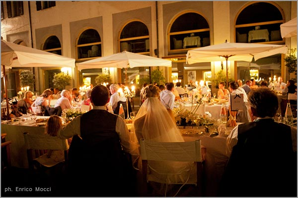 outdoor wedding dinner at San Rocco Hotel Lake Orta