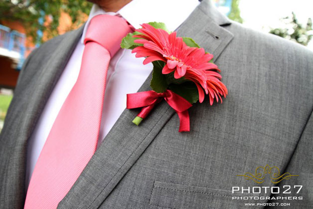 red gerberas buttonhole by La Piccola Selva florist in Orta Lake