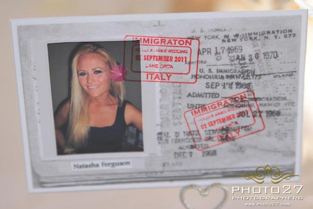 vintage passport wedding names cards in Italy
