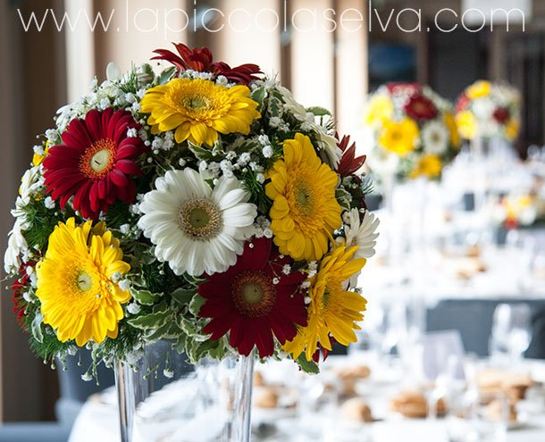 Gerberas wedding centerpiece at San Rocco Hotel