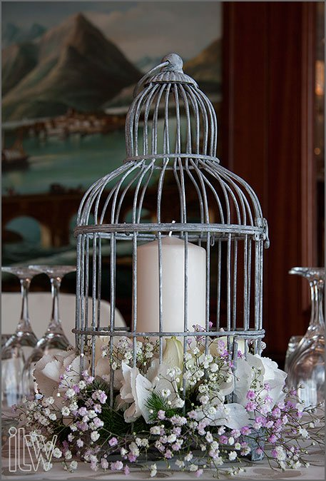 vintage bird cage centerpiece at Grand Hotel Dino by La Piccola Selva florist