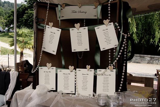 seating plan by Lake Orta wedding planner