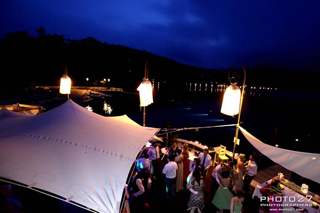 wedding party at Orta Beach Club restaurant