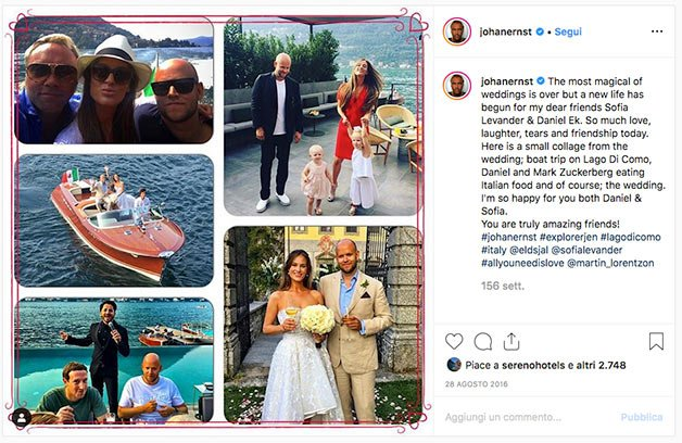 Daniel Ek and Sofia Levander's wedding on Lake Como