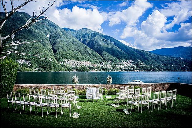 Outdoor binding ceremony on Lake Como
