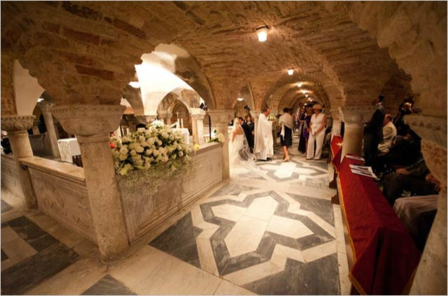 Wedding ceremony at St. Mark's crypt in Venice