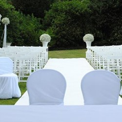 Flowers and Fabrics a chic match for your wedding ceremony