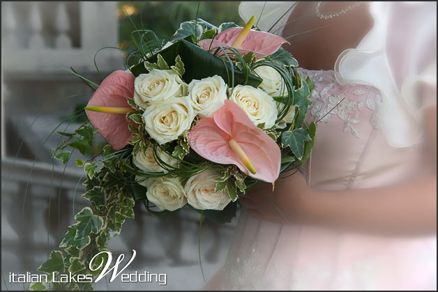 Anthurium and Roses bridal bouquet by La Piccola Selva