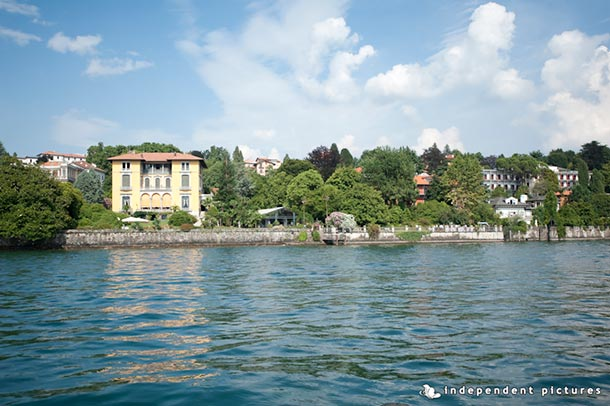 Caroline and Tony's wedding - July 2012 Wonderful view! A rare shot taken from the bridal boat reaching Villa Rusconi. Villa Rusconi is stunning by the lake. Photo by Independent Pictures