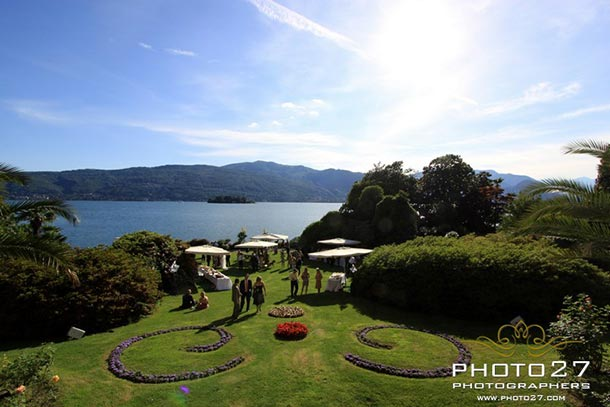Fiona - Marco's wedding - May 2011 Aperitif in the big lawn overlooking the Lake and Borromeo Island. - Photo by Photo27