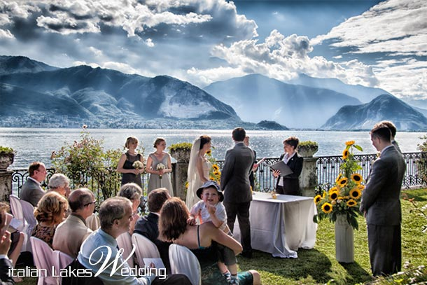 Melanie and David's wedding - June 2010 Another kind of ceremony. Melanie and David decided to get married overlooking Pallanza village and Italian and Swiss Alps. Dramatic photo! - photo by Italian Lakes Wedding
