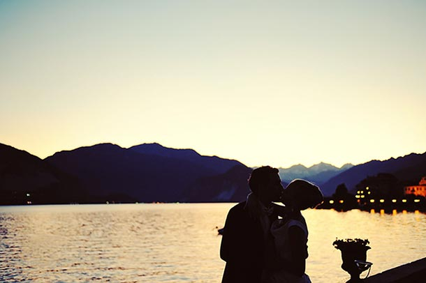 Simone and Stephan's wedding - July 2009 A wonderful kiss at sunset. Like a post card on Lake Maggiore
