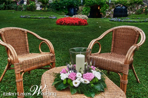 Lina and Borja's wedding - July 2010 Garden furniture floral decoration for the aperitif in the big lawn at Villa Rusconi Photo by Italian Lakes Wedding