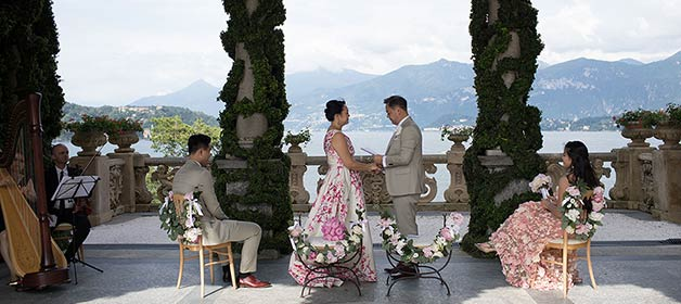 An intimate vow renewal on Lake Como