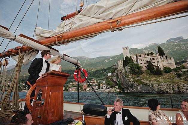 Wedding sailing cruise on Lake Garda