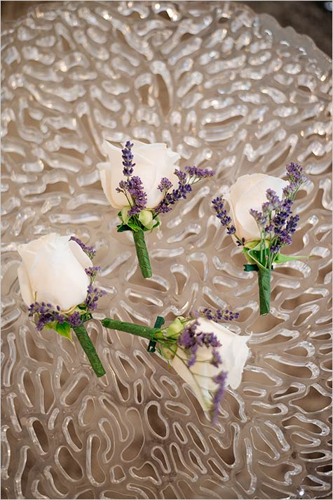Roses and lavender buttonholes