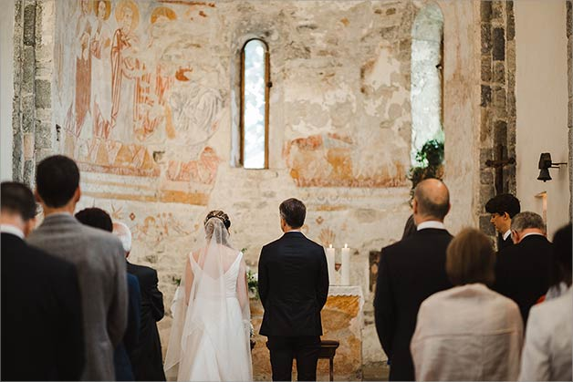 Catholic Ceremony in an ancient Church above Lake Maggiore