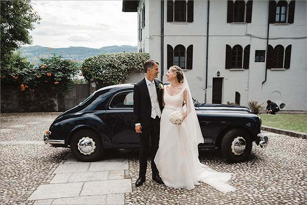 wedding at ancient Church overlooking Lake Maggiore