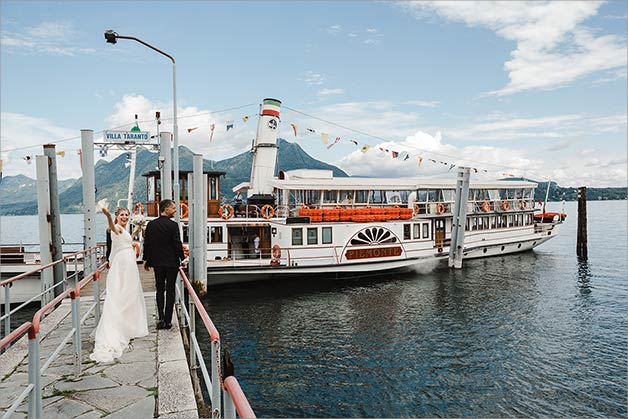 wedding reception on a vintage ferry boat on Lake Maggiore