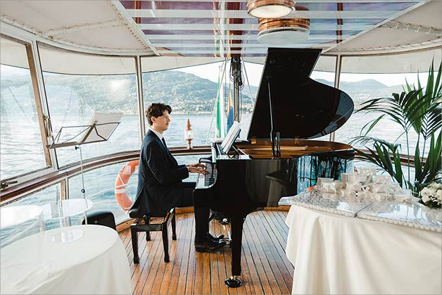 piano concert on a vintage ferry boat on Lake Maggiore