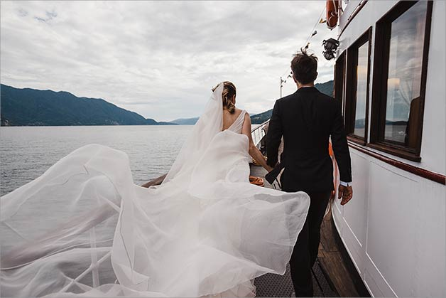 wedding photos on vintage ferry-boat