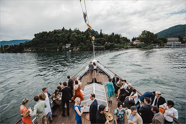 Wedding reception vintage ferry-boat on Lake Maggiore