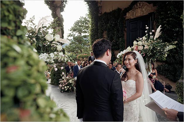 Wedding ceremony at Villa del Balbianello