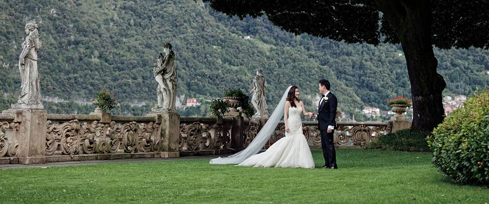 romantic wedding on Lake Como