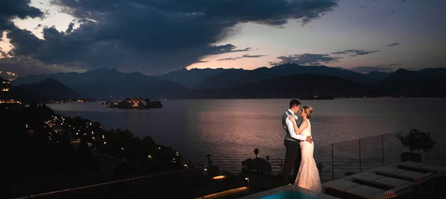 outdoor wedding ceremony on Lake Maggiore