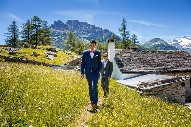 wedding Ceremony at Simplon Pass on The Alps